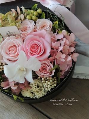 バラとデンファレのBOXフラワーギフト/ピンク/プリザーブドフラワー/結婚祝い/お誕生日祝い/出産祝い/サプライズギフト/フラワーギフト【お届け日指定可能】