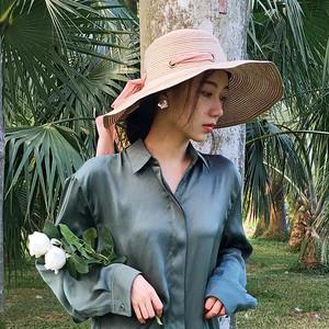 【小物】人気上昇中合わせやすいリボン付け草編み日焼け止め帽子20277360
