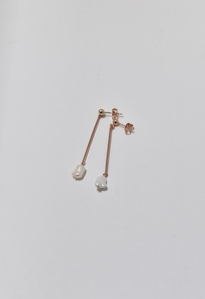flesh water pearl stick pierce Pink Gold