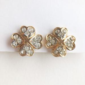 """NINA RICCI"" rhinestone clover earring[e-1353] ヴィンテージイヤリング"