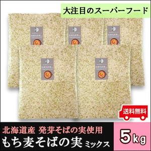 【もち麦そばの実ミックス 5kg 】お得セット/スーパーフード/無添加/健康食品/自家用/送料無料/発芽