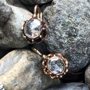 Rosecut Diamond Gold Earrings