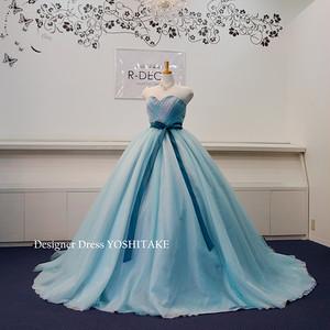 ウエディングドレス(パニエ無料) ブルーチュールラメ入りドレス 披露宴/二次会