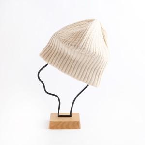 mature ha./long rib knit cap tiny rope lamb/off white