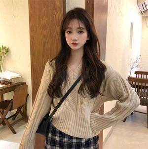 【トップス】秋冬プルオーバースウィートキュートニットセーター
