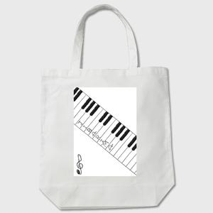 白 トートバッグ(鍵盤)