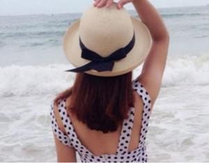 麦わら帽子 レディース リボン 大きい つば広 紫外線対策 春 夏 yuab060