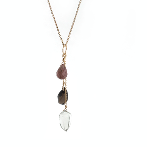 Muscovite , Smoky Quartz , Green Amethyst necklace