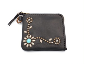 L ZIP  STUDS WALLET (TRIBAL FLOWER)