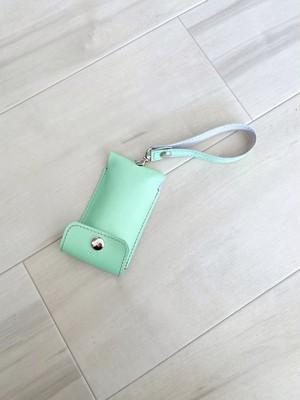 ポップ&クール キーケース コードリール付き 本革 迷彩柄 メロン グリーン