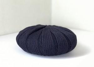 ジンバブエコットンのふんわりニットベレー帽 D/ネイビー杢