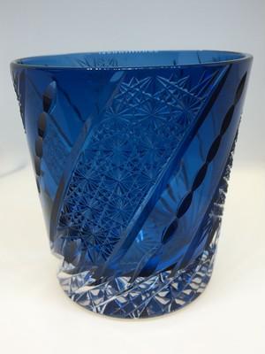 江戸切子  ロックグラス(藍色) 無料包装   送料無料 クリスタルガラス 焼酎グラス 結婚祝 記念品 誕生日プレゼント