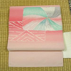 白地に銀糸とピンクのぼかし織り 名古屋帯