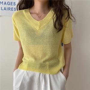 【トップス】4色 シンプル 半袖 Vネック チラリ Tシャツ44556340