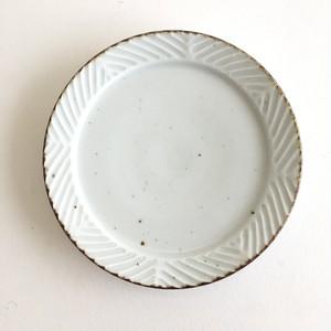 砥部焼 皐月窯 リム皿 6寸 しのぎ