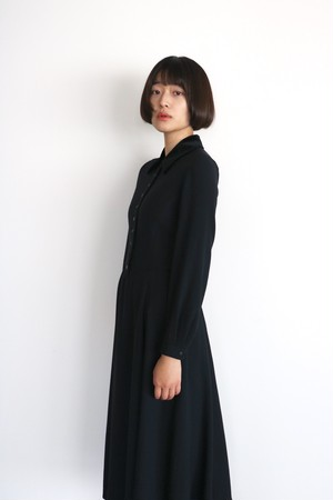 Vintage velour collar black dress