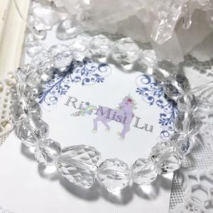 【四月誕生石特価】キラキラりんごカットとスターカット水晶ブレスレット