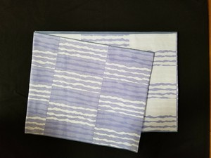 リバーシブル 織兵児帯 市松によろけ縞 薄紫