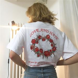 【即納♡】ローズプリントTシャツ 5799
