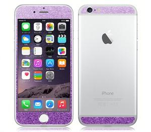iPhone6、iPhone6Plus用 両面カスタムデザイン液晶フィルムシール(ラメアメジスト)