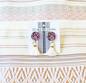 博多織樹脂イヤリング (RY-10) 紫 パープル フリンジ タッセル 白 レジン 丸 ラウンド 和装 着物 博多献上