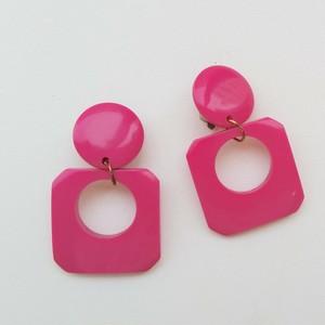 仏ヴィンテージ ピンクのイヤリング