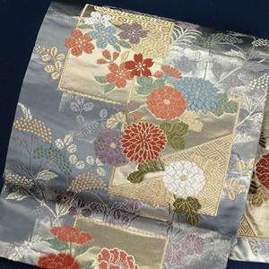 四季草花 正絹袋帯【0886】