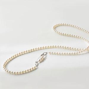 アコヤ真珠安全ピン付きロングネックレス