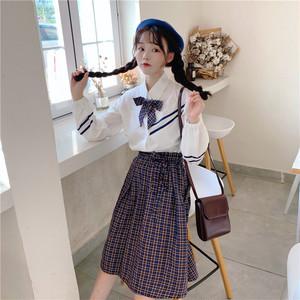 【セットアップ】リボン長袖シャツ+レトロスカート二点セット