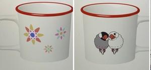 文鳥さん花柄マグカップ