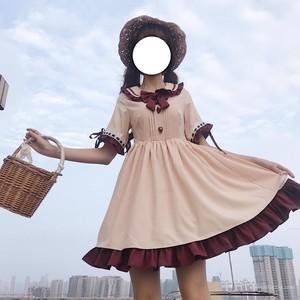 【ワンピース】日系無地スウィートリボン刺繍ワンピース