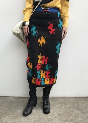 Vintage knit puzzle skirt ( ヴィンテージ  ニット パズル柄 スカート )