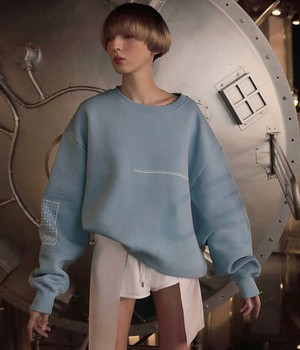 KRUZHOK - Sweatshirt «Time» ( fabric inserts on the sleeves, footer bouffant)