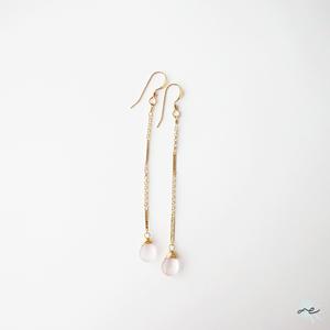 Star-Rose quartz・Long Chain Earrings