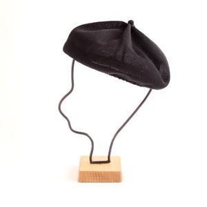 mature ha./beret top gather linen/black