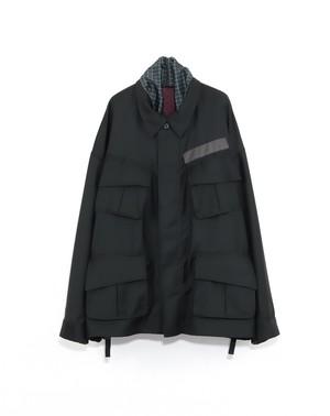 Reversible fatigue JKT -BLACK(ファインパターン柄)- / elephant TRIBAL fabrics