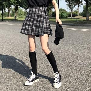 【ボトムス】ファッション不規則チェック柄ハイウエストスカート