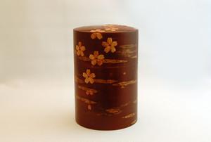 桜皮茶筒:桜花色出し大