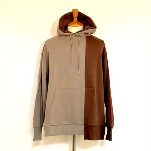Asymmetry Design Pullover Parka Grayge×Brown