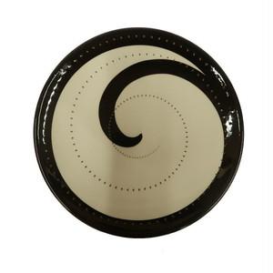 小石原焼 ケーキ皿 黒トビ 鶴見窯