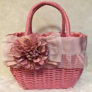 フリルとリボンのカゴバック ピンクお花
