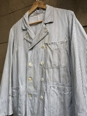Old German stripe pattern double breasted work jacket 1