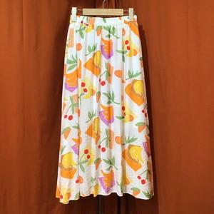 Fruit Print Flare Skirt  Color : White