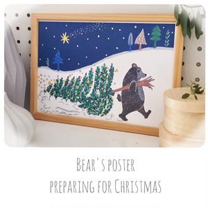 812【北欧風クリスマスの準備をするクマのインテリアポスター<A4.A3>】水彩画アート ツリー 雪 冬