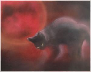 赤い月(パステル画 原画) 6号