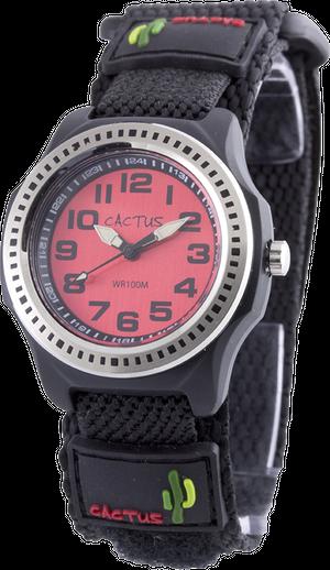 [キッズ腕時計 ボーイズデザイン]レッド ベルクロ仕様 10気圧防水 CAC-45-M07