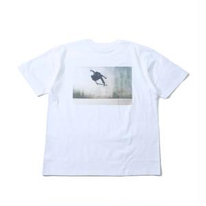 SK-back print T-shirt  white