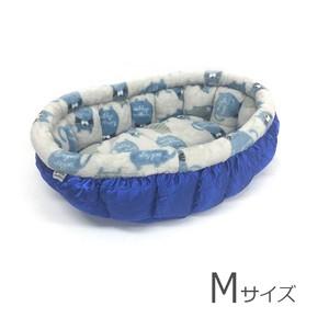 ふーじこちゃんママ手作り ぽんぽんベッド (サテンブルー・ボアしましまねこ柄)Mサイズ 【PB8-107M】