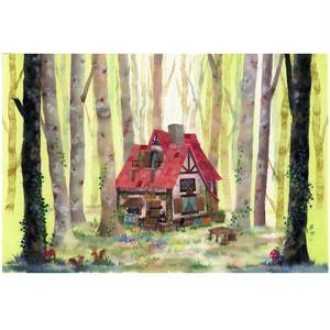 『魔女の森』 魔女の森の奥にひっそりと佇む素敵なお家 神秘的でありながらメルヘンなイラスト ポストカード