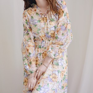 frill design maxi dress / apricot pink